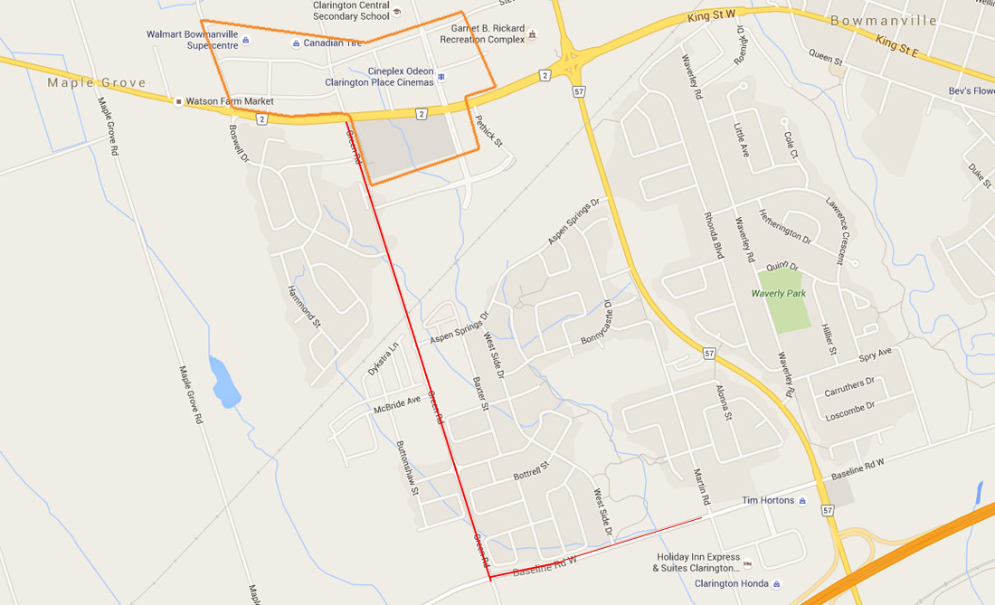 Annotated google map of southwestern Bowmanville