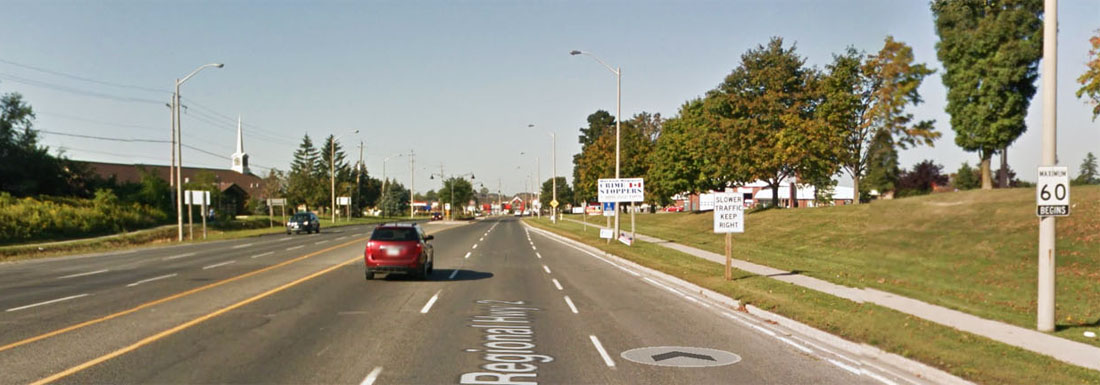 Durham Regional Rd 2, looking west (Google street view)