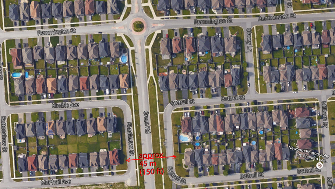 Satellite view of subdivision along Green Road.