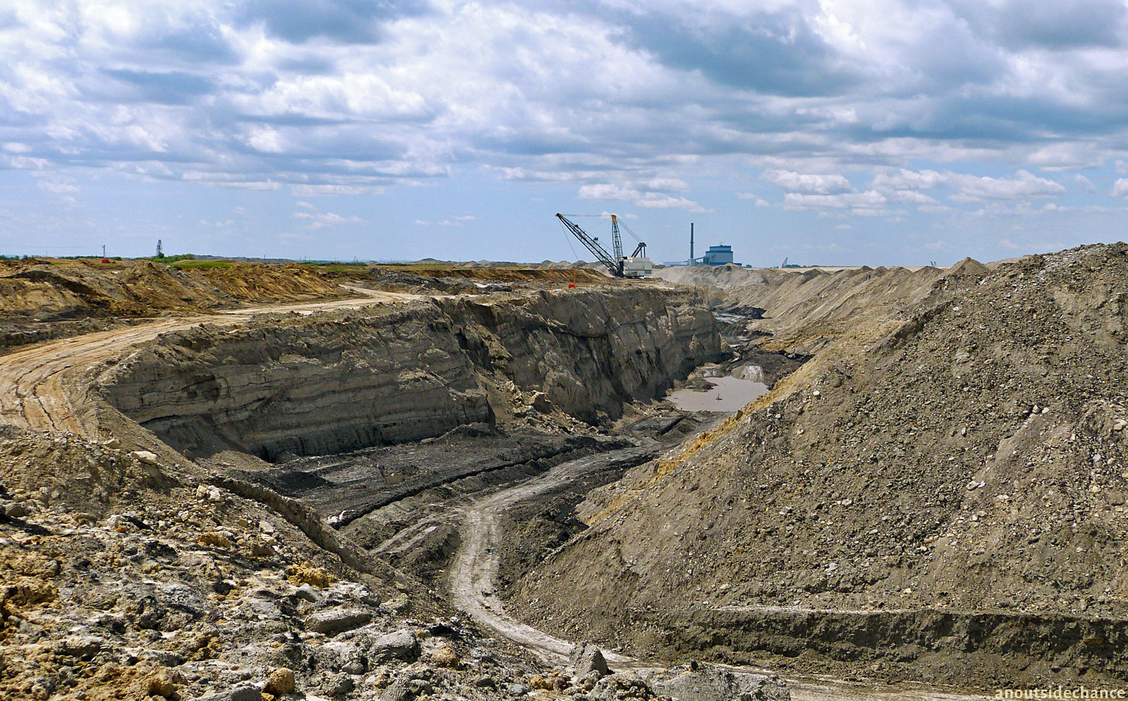 Open-pit coal mine in south-east Saskatchewan.