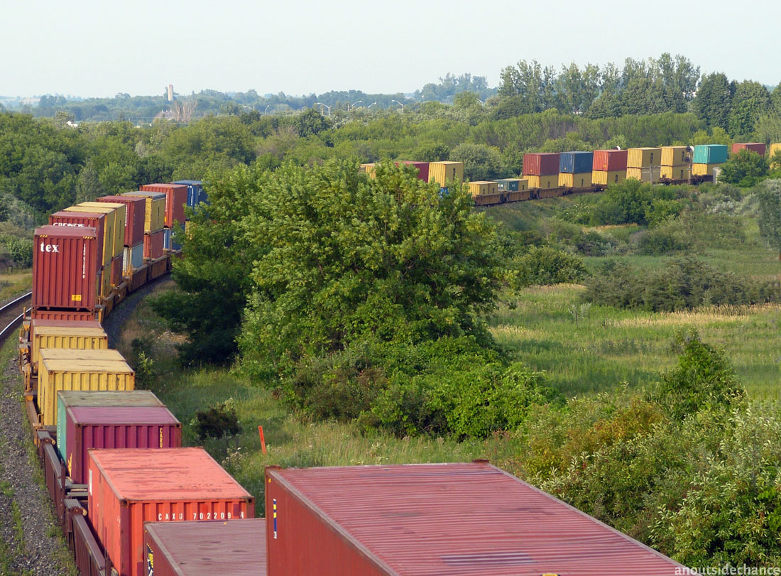 A container train on the Canadian National rail line.