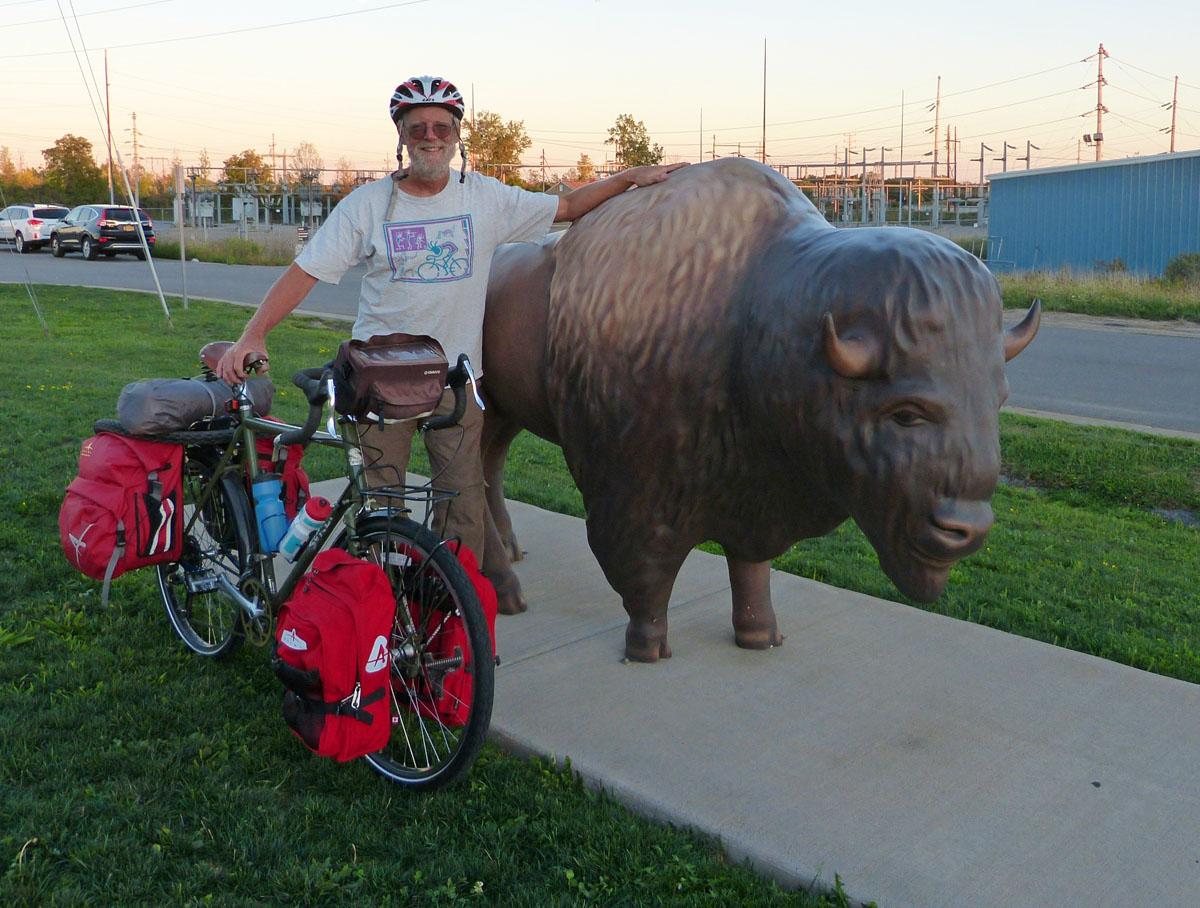 Bart with loaded touring bike at Buffalo NY Amtrak station