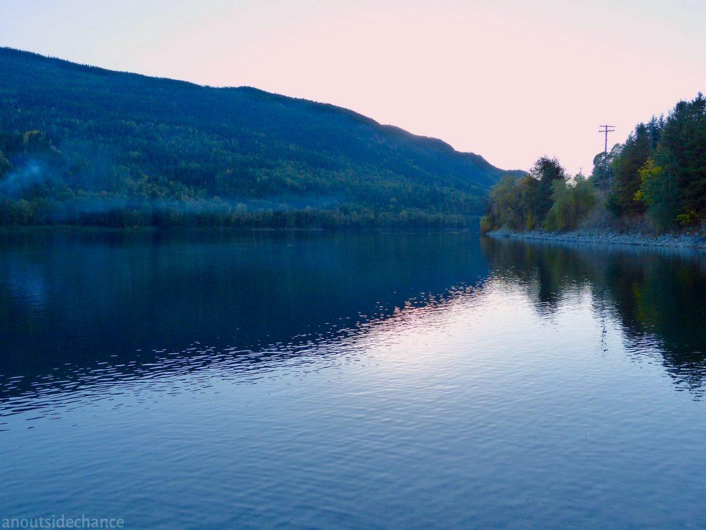 Twilight falls on the Columbia River.