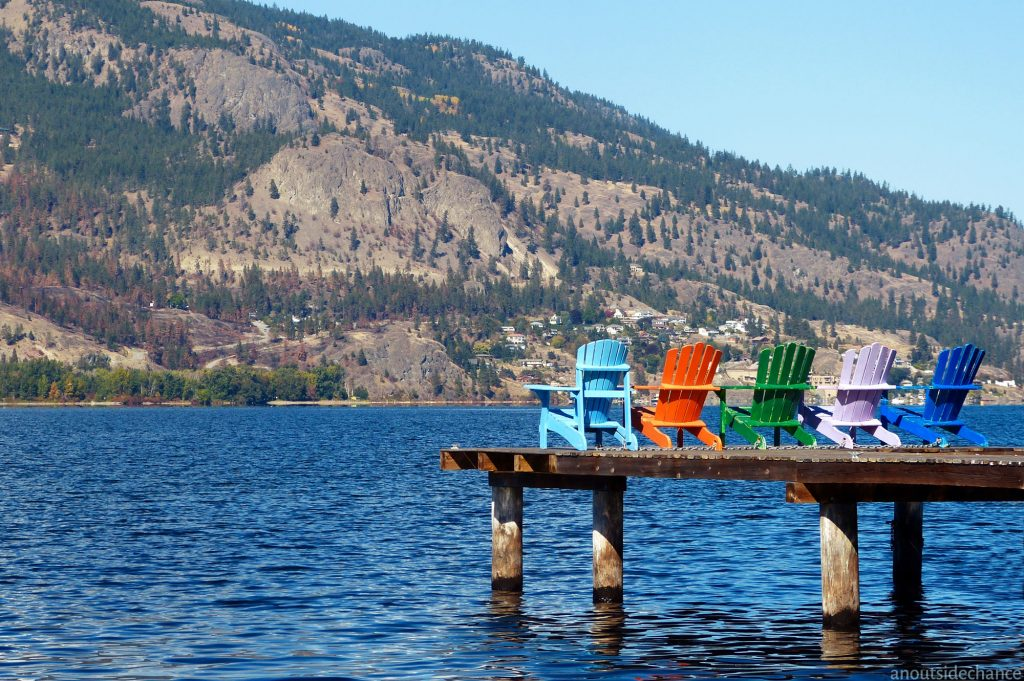 Looking west across Okanagan Lake from a small waterfront park in Kelowna