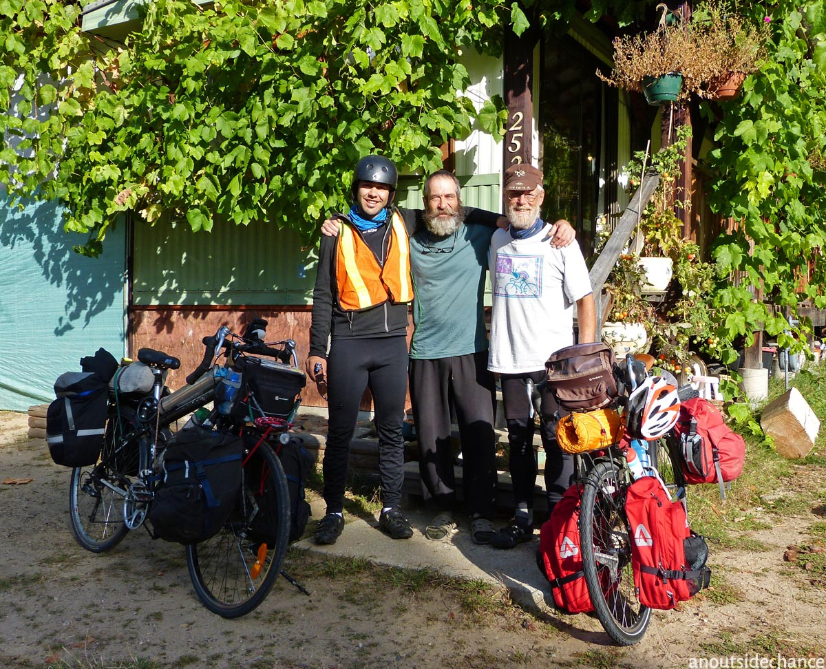 Pablo Pedroche, Richard Roussy and yours truly in Robson, BC, near the Columbia River.