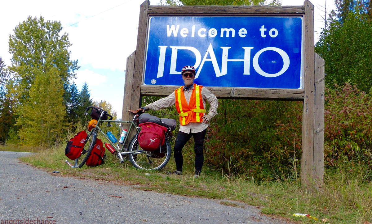 At the Welcome to Idaho sign on US Highway 2.