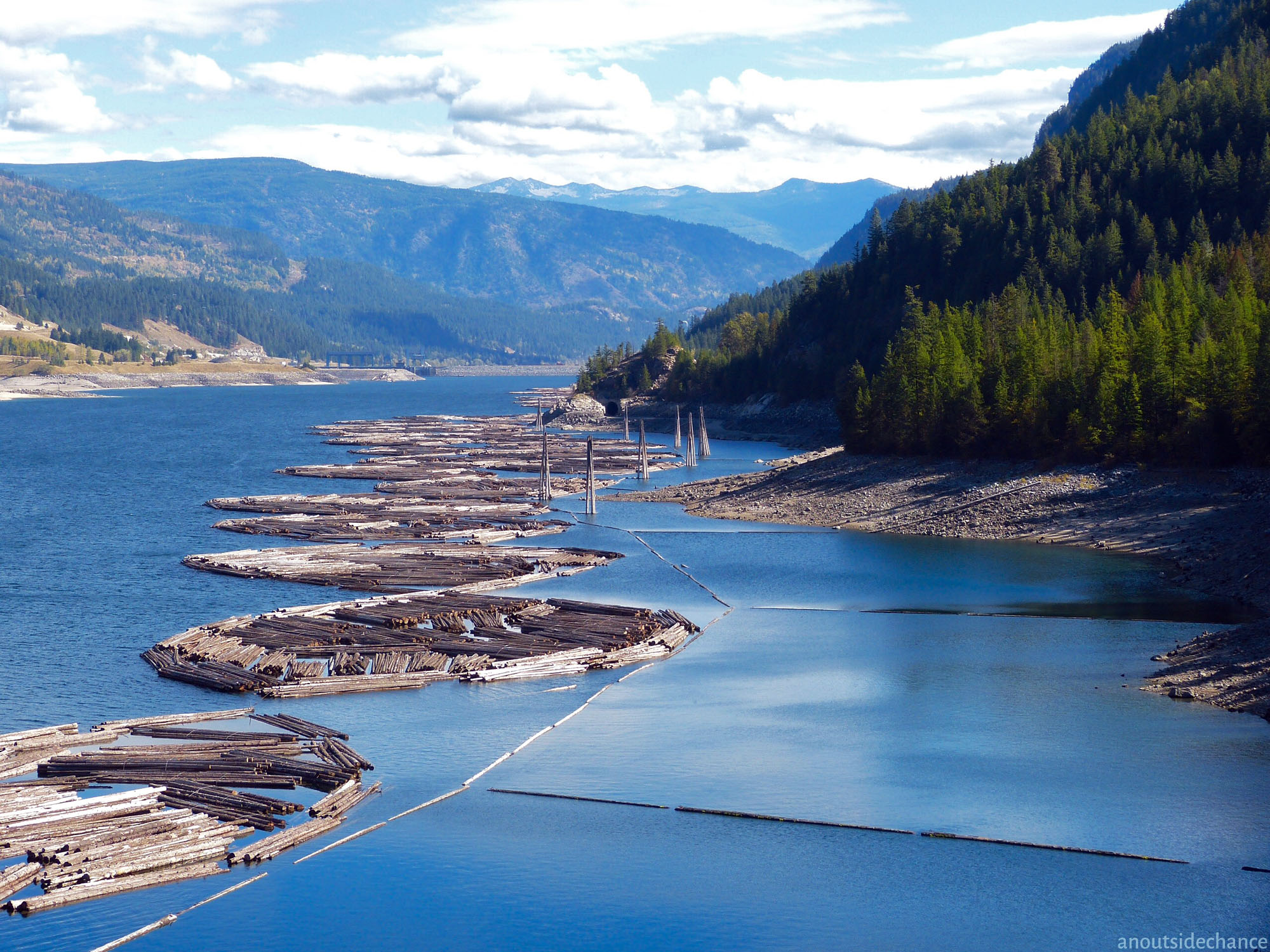 Log booms on the Columbia River west of Castlegar