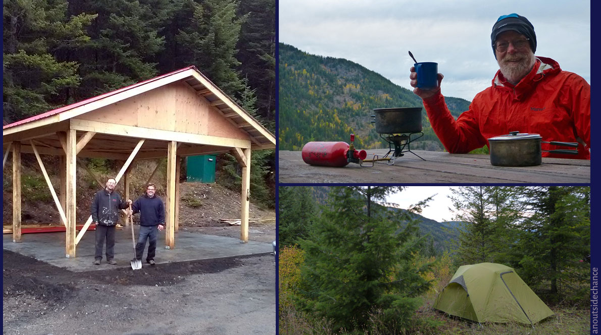 Campsite at Bulldog Tunnel. The picture at left is from the Columbia & Western Facebook page, showing the new shelter which was built a few days after I passed through.