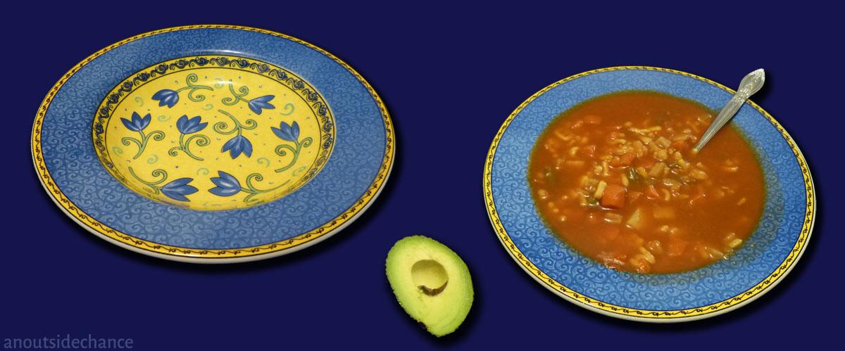 Soup bowls with soup.